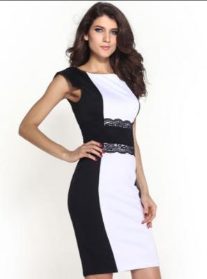 68d821811 vestidos cortos blanco con negro elegantes