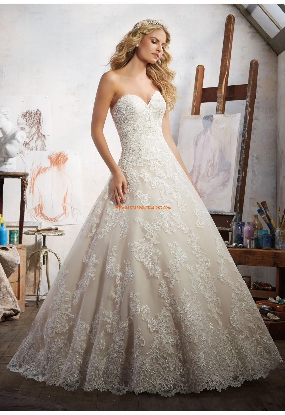 A Linie Ausgefallene Romantische Brautkleider Aus Spitze Mit