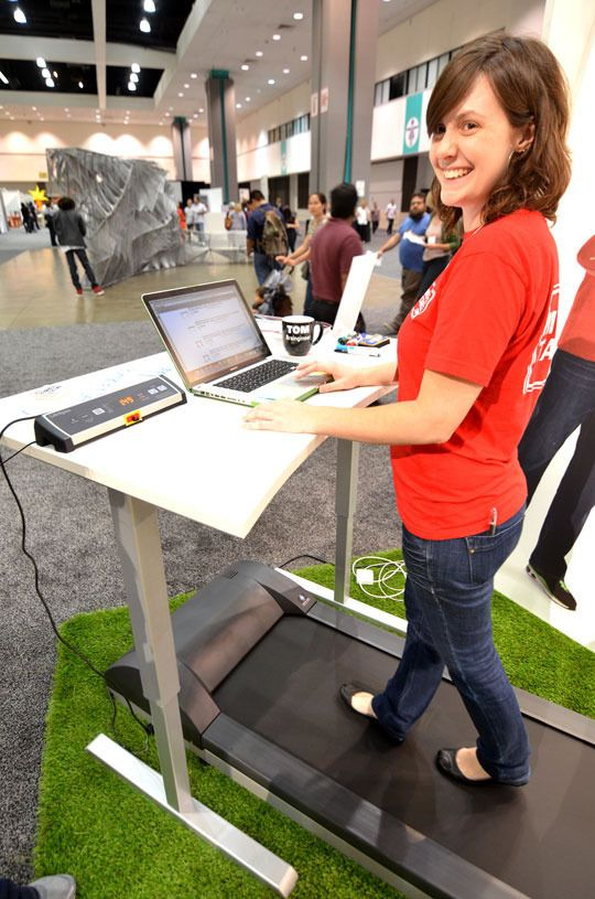 Home Standing Office Design Ideas: MultiTable ModTable Standing Desk + Treadmill System