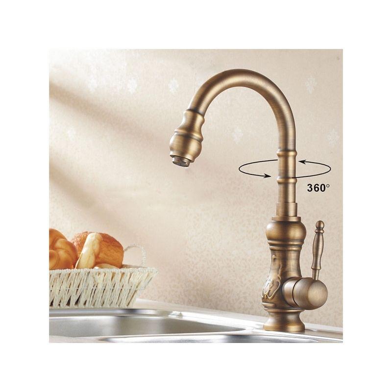 Antique Brass Kitchen Mixer Tap Tall Faucet Antique Brass