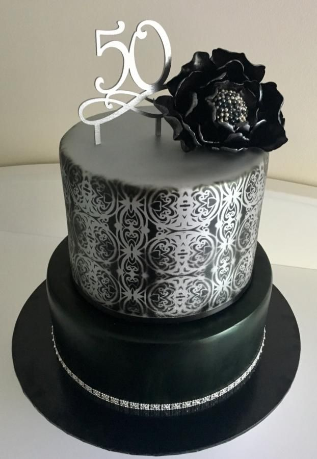 Fabulous Black And Silver With Black Peony Cake By Rjselwonk Birthday Personalised Birthday Cards Epsylily Jamesorg