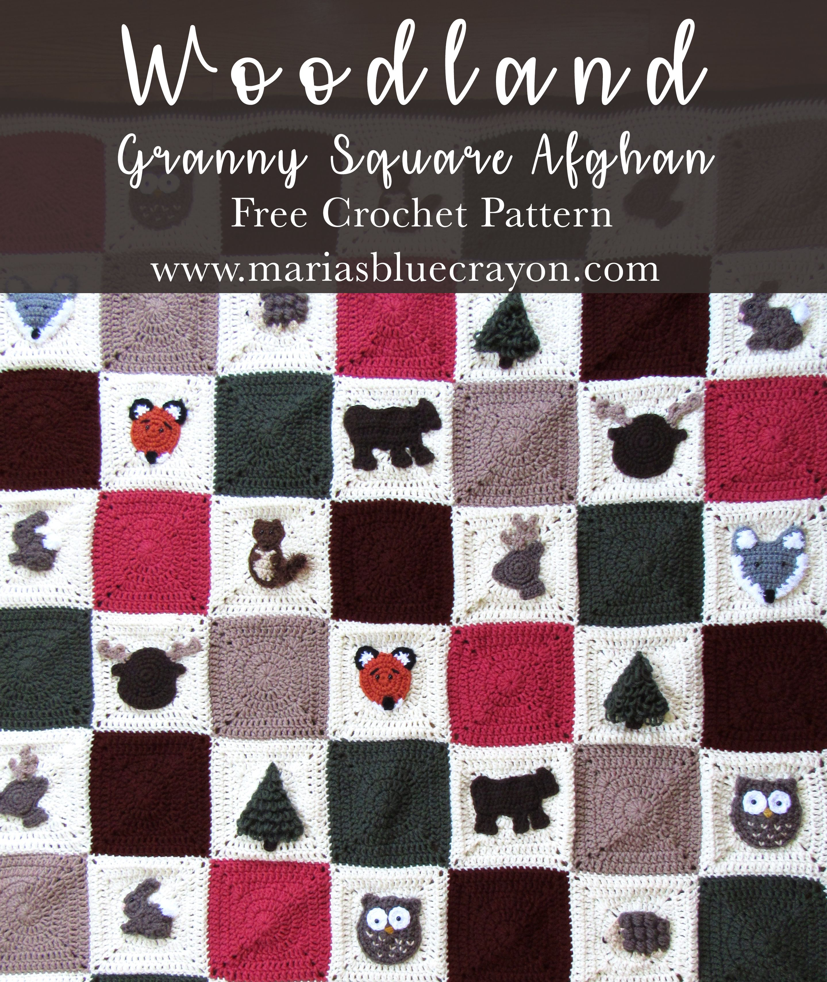 Woodland Granny Square Afghan Free Crochet Pattern | Maria\'s Blue ...