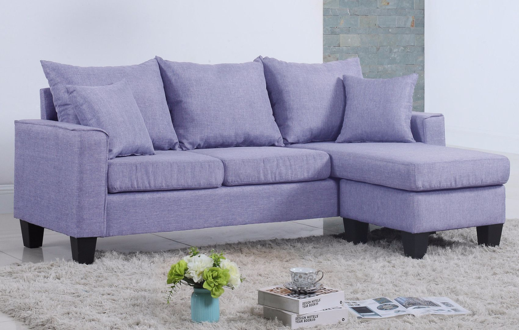 Modern Linen Fabric Small E Sectional Sofa With Reversible