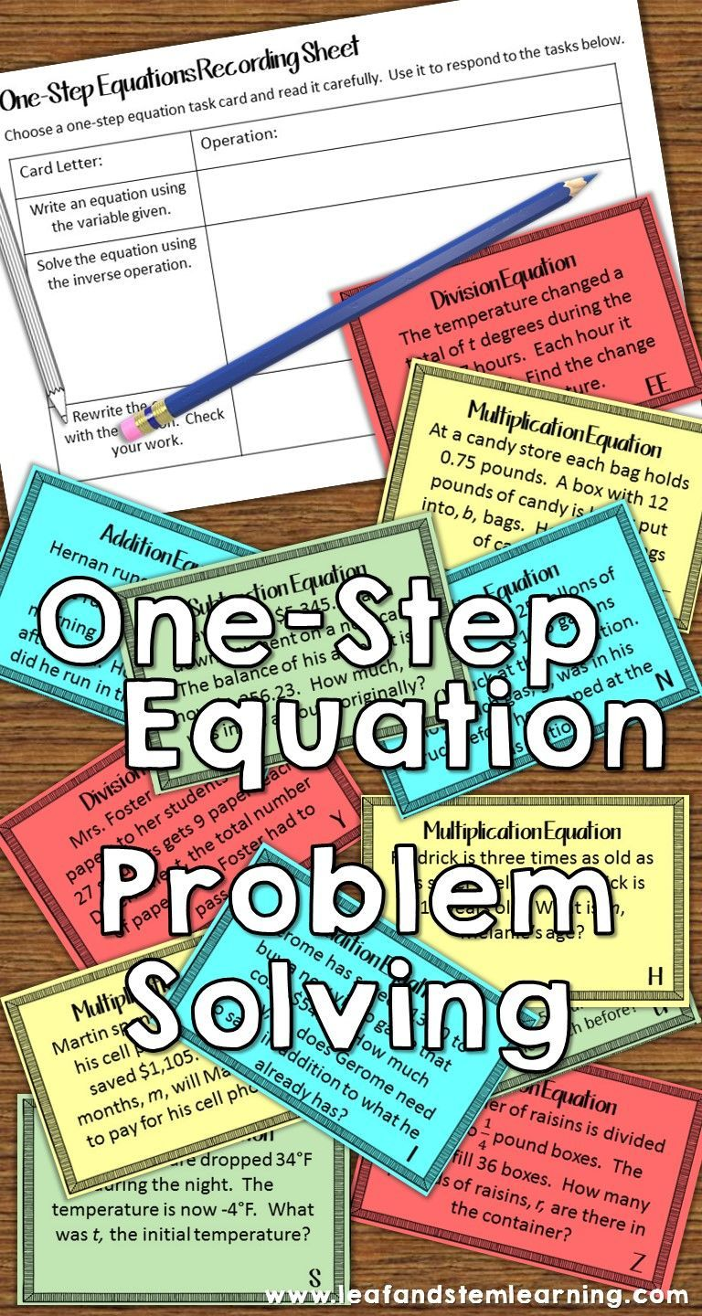 One Step Equations Word Problems Task Cards
