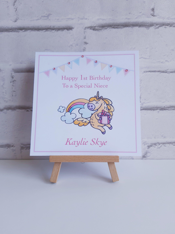 Unicorn 1st Birthday Card For A Girl Personalised Handmade Etsy Unicorn Birthday Cards Sister Birthday Card First Birthday Cards