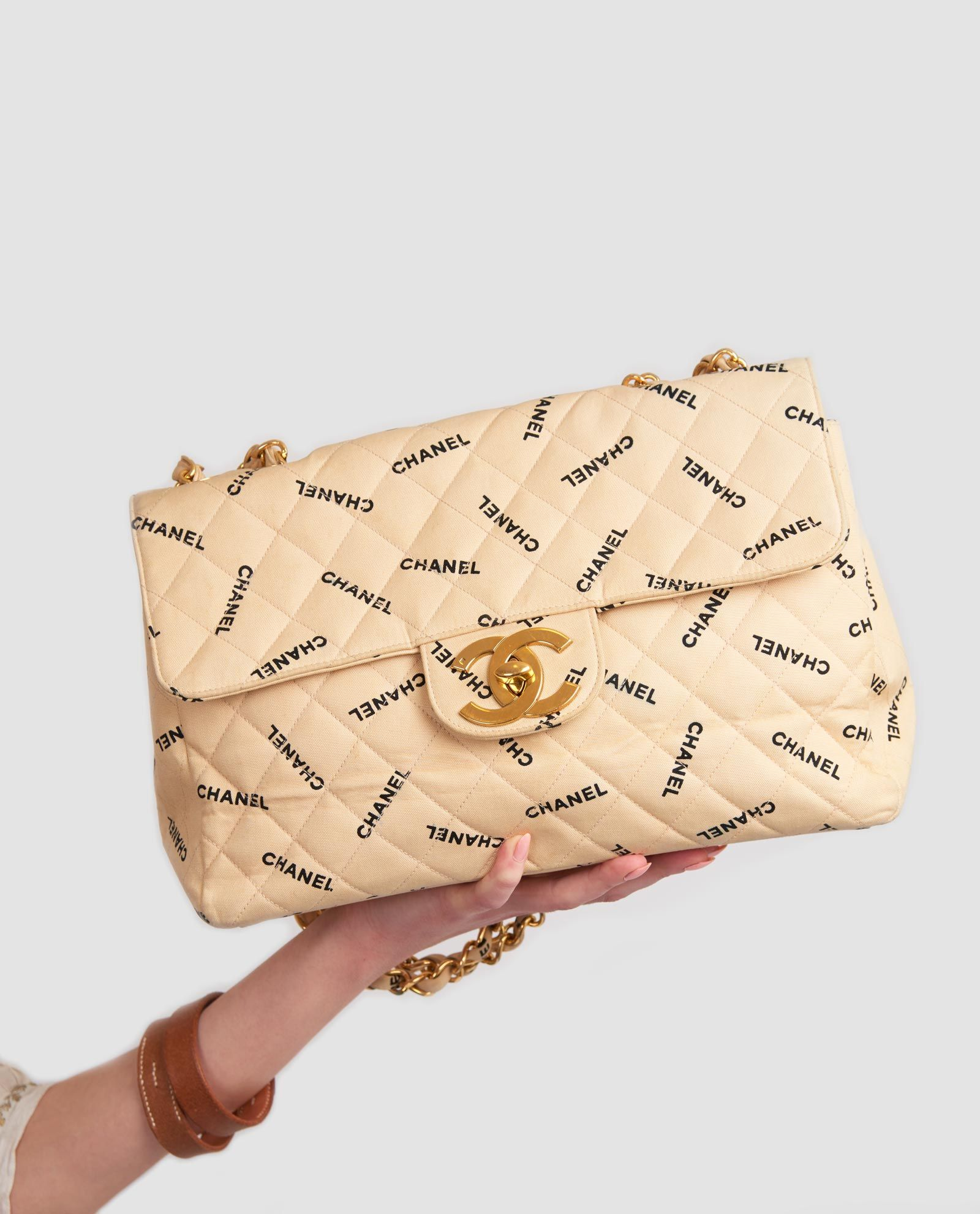 3407f883d58dd7 Vintage Chanel canvas monogram jumbo xl flap bag   Chanel Beauty ...