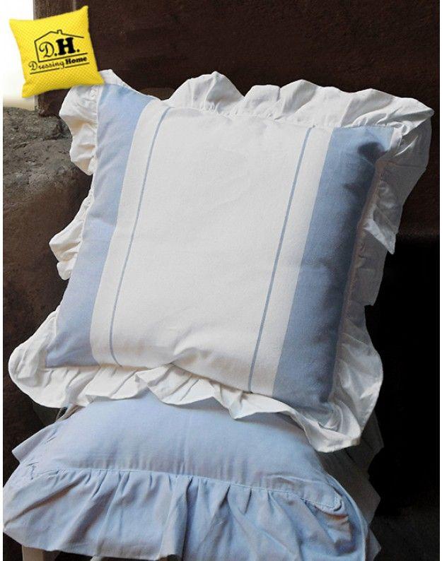 Cuscino Arredo con Volant Shabby Chic Capri Collection Blanc