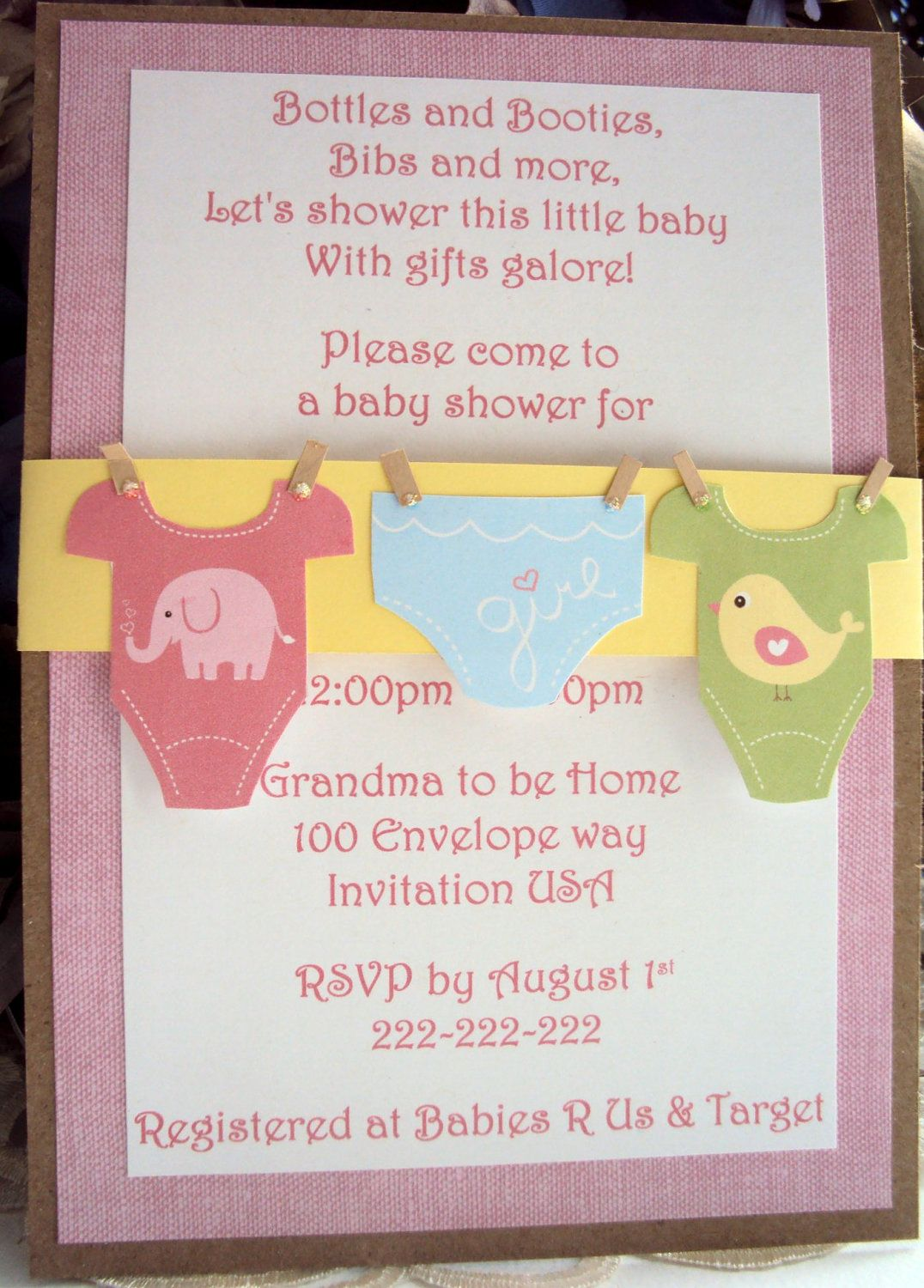 handmade baby shower invitations - Google Search | Baby Ideas ...