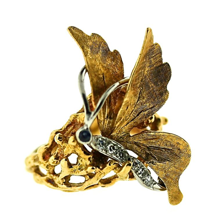 CARTIER 1970s Butterfly Ring | From a unique collection of vintage fashion rings at http://www.1stdibs.com/jewelry/rings/fashion-rings/