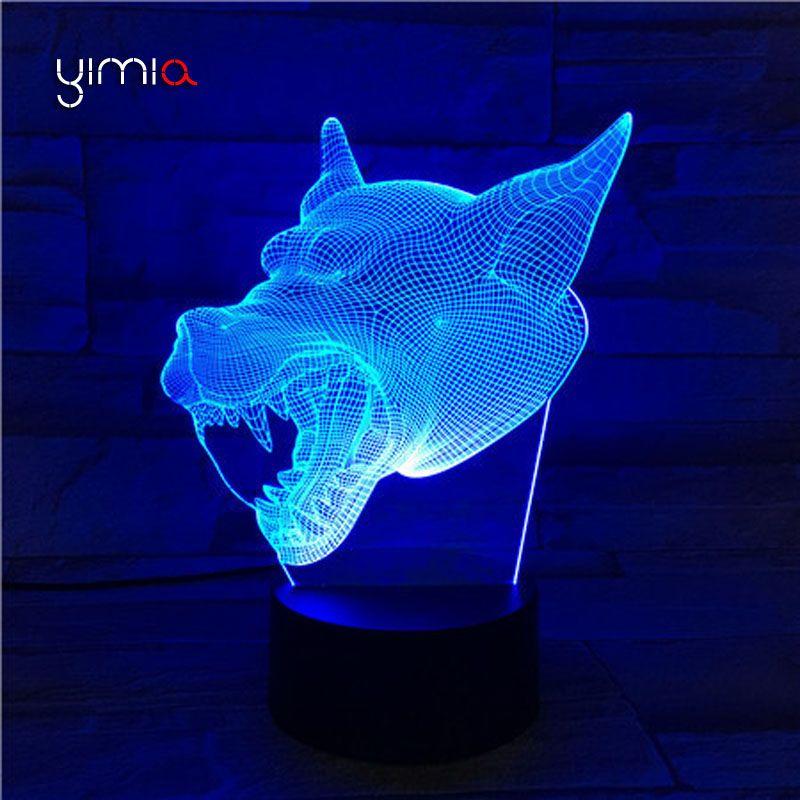Yimia Creative Wolf Head 7 Colors Changeing Lamp Acrylic Remote 3d Led Night Light Micro Usb Table Desk Lamp Home Decor Lampe Night Light Led Night Light Lamp
