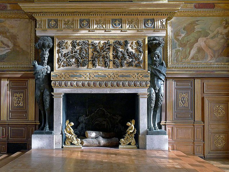 The monumental fireplace in the ballroom ontainebleau chateau