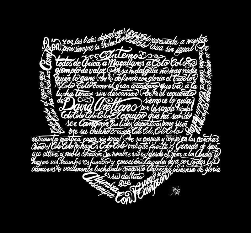 Ilustración de la letra del himno de colocolo forma el escudo / Lettering