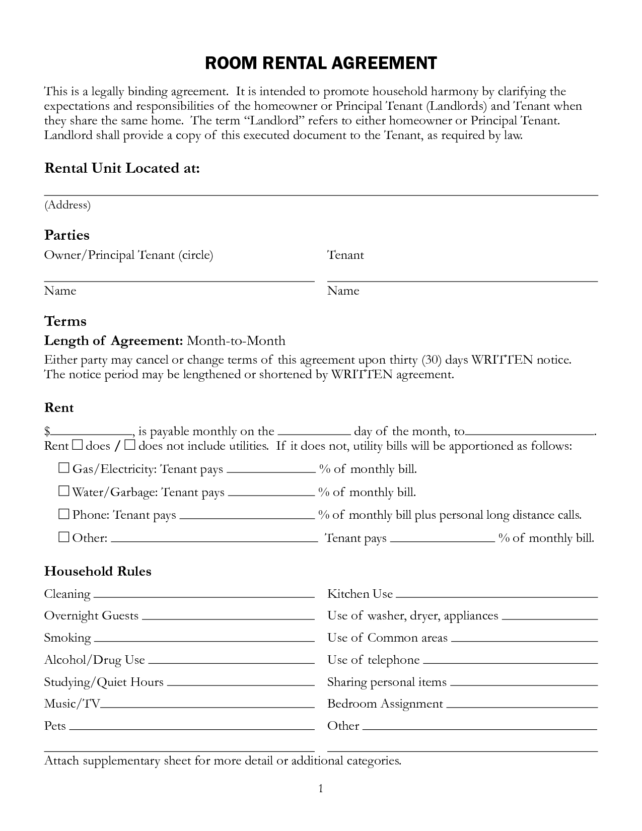 room rental lease Free Printable Rental Lease Agreement Form Template | Bagnas ...