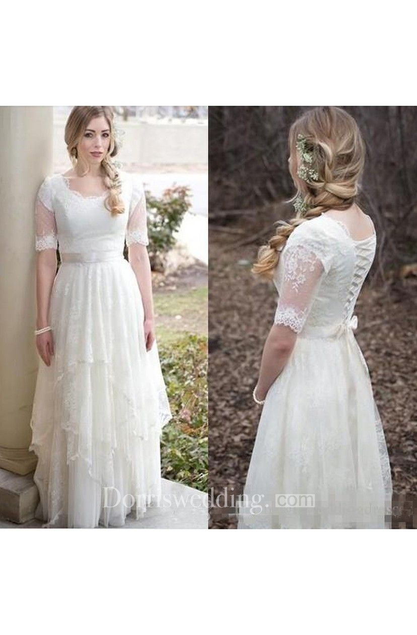 Modest country style bohemian garden lace tulle scoop neck illusion