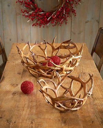 K&K Interiors Inc. Faux-Antler Bowls, 2-Piece Set