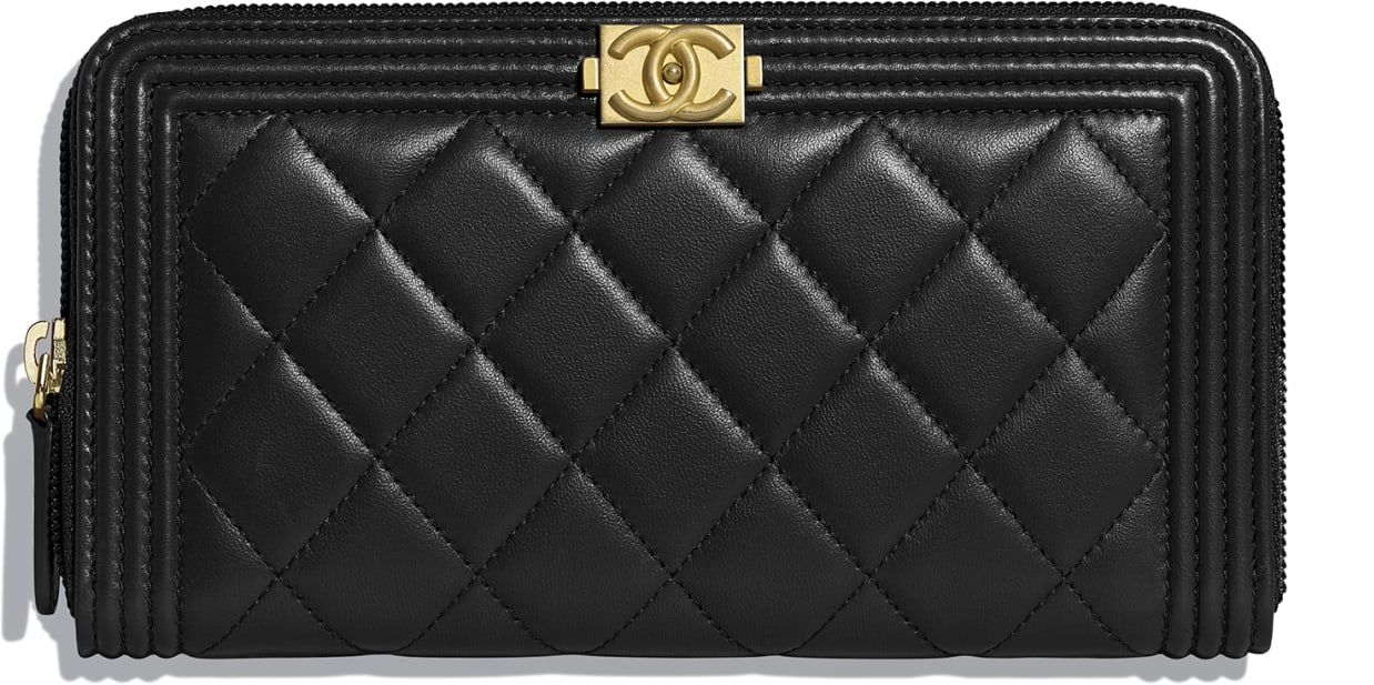 1d24617ccf BOY CHANEL Zipped Wallet, lambskin & gold-tone metal, black - CHANEL ...