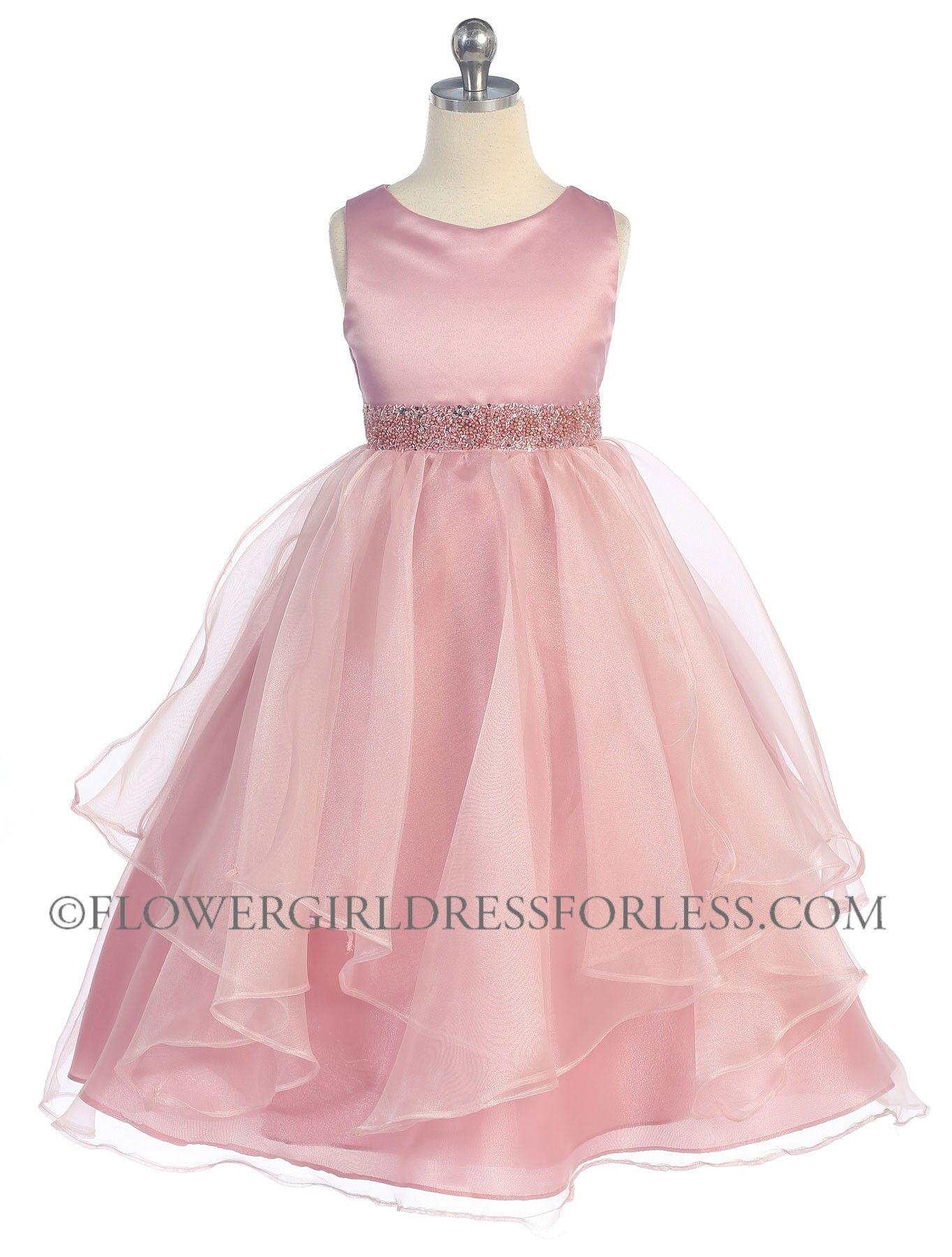 Girls dress style rose sleeveless satin and organza layered
