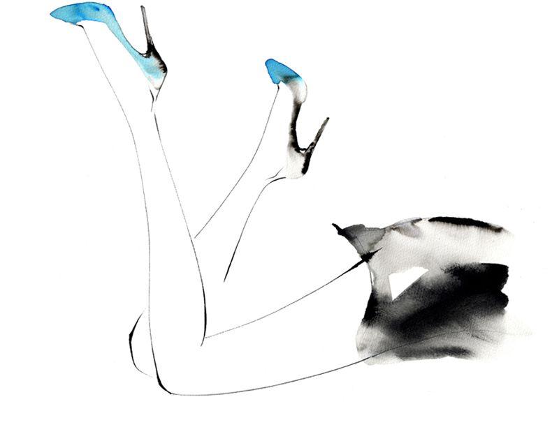 寝そべる女性がハイヒールを履くおしゃれなイラスト