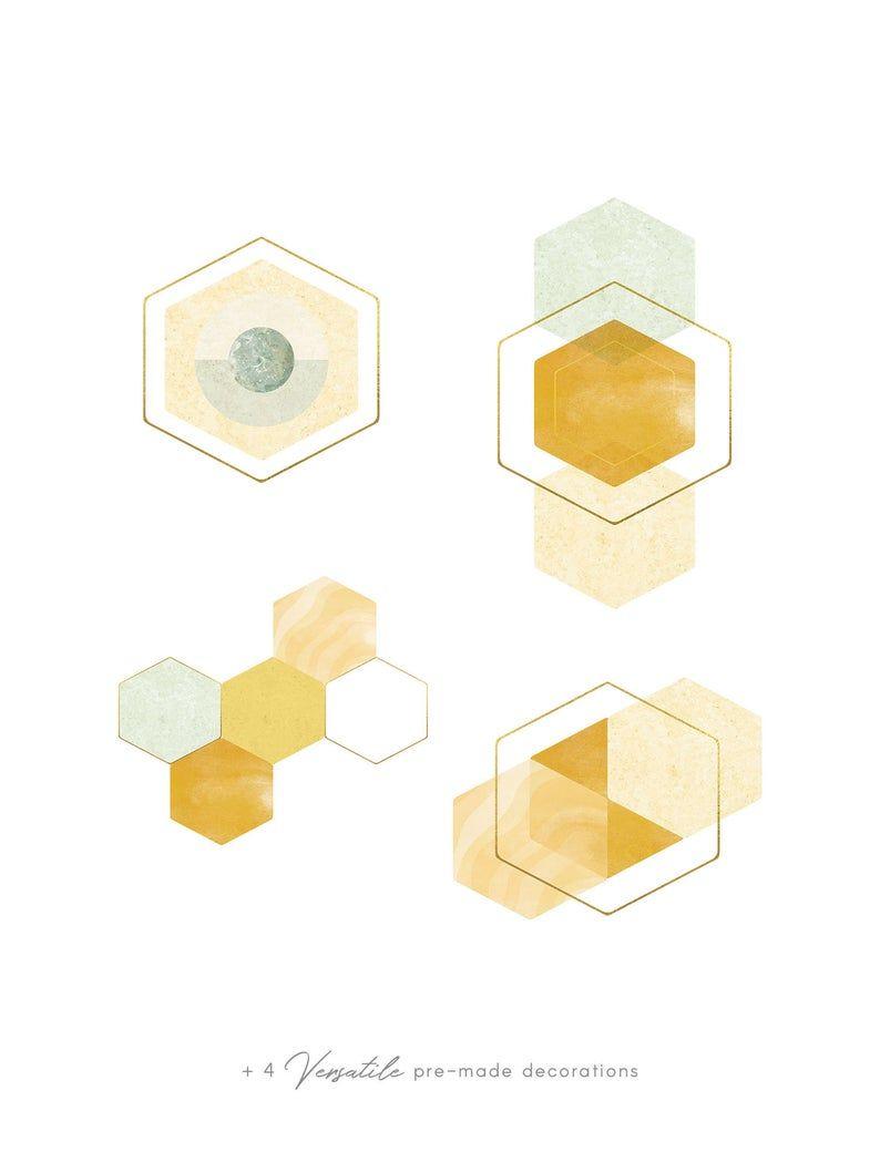 Watercolor Gold Honeycomb Clip Art Geometric Hex Shapes