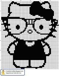 Black and White Hello Kitty Nerd Perler Bead or Cross Stitch Pattern