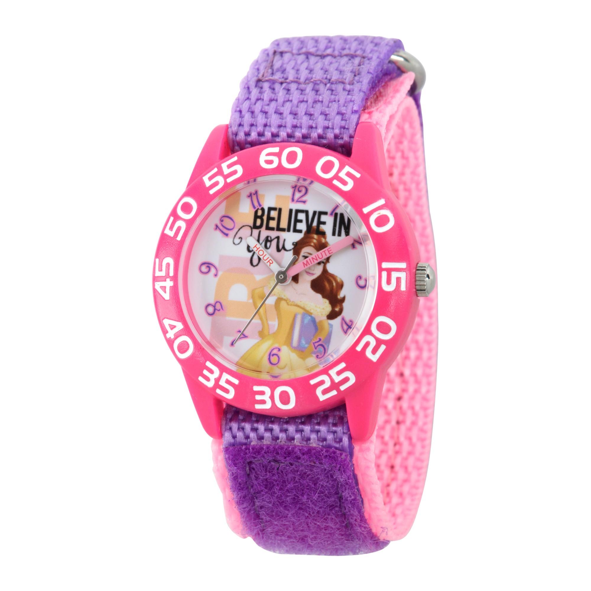 Girls\' Disney Princess Belle Pink Plastic Time Teacher Watch ...