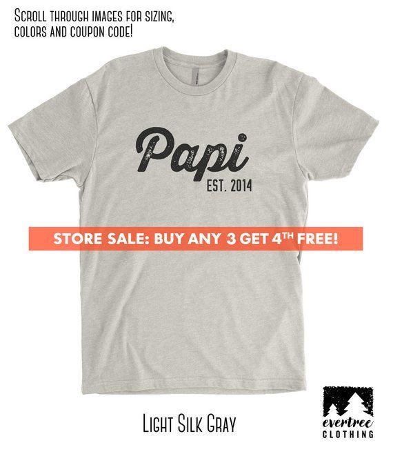c97c5886b Papi Est. (Customize Any Year) T-shirt, Men's Crewneck Shirt, Cool Dad shirt,  Gift For Dad, Father's