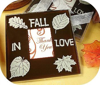 Fall In Love Glass Photo Coaster Set Favors