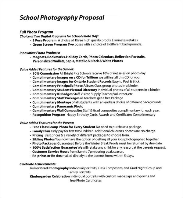 Sample Photography Proposal Template - 9+ Free Documents in PDF - free event proposal template