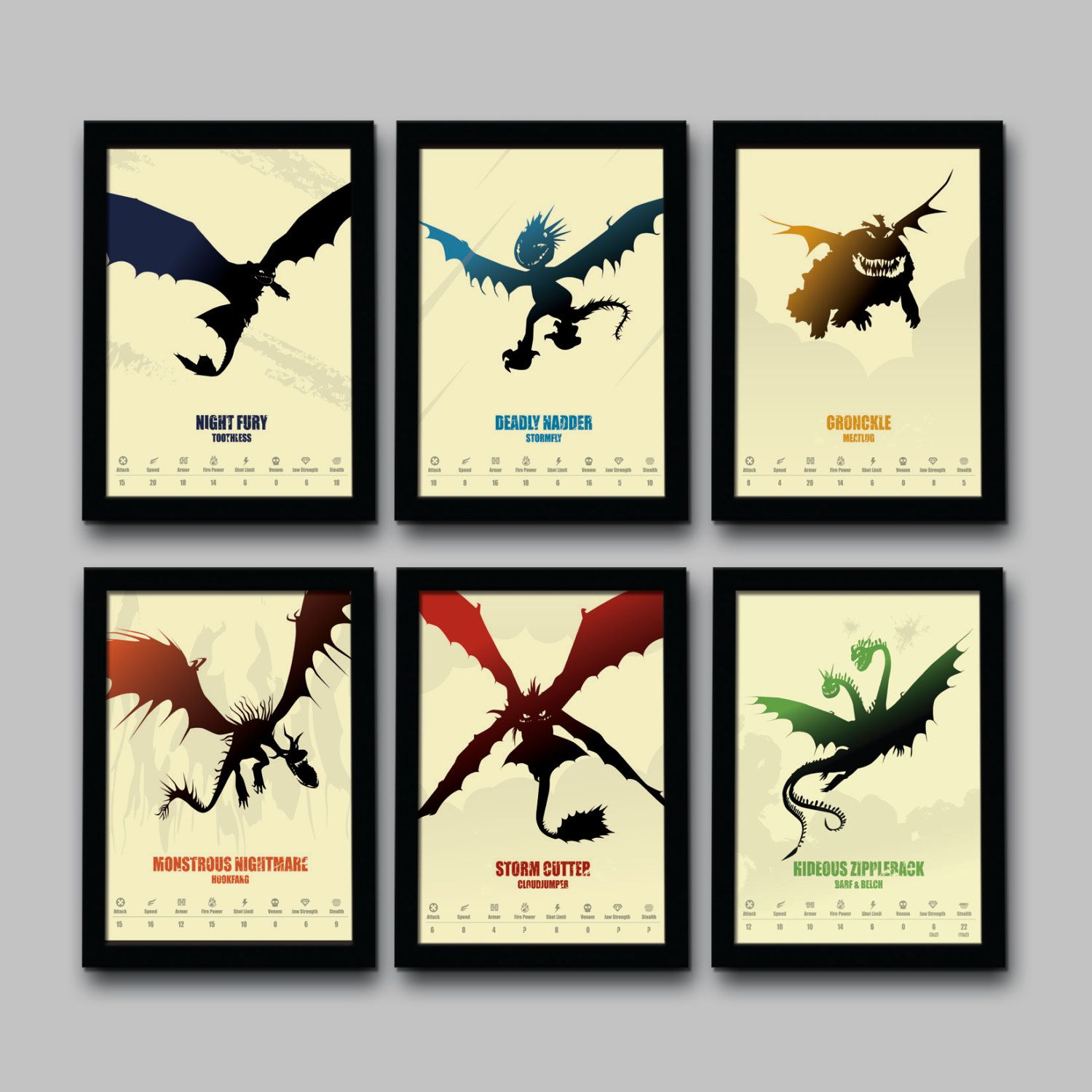 How To Train Your Dragon Inspired Minimalist Movie Poster Set ...