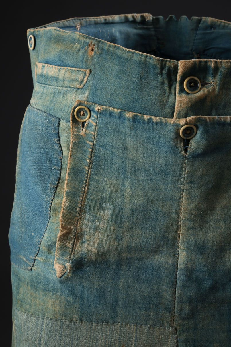 4a232036 Men's denim and brushed cotton work pants, circa 1840. Photo: The Museum at  FIT