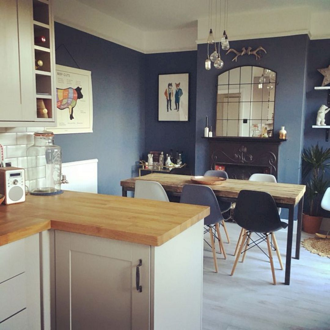 23 affordable blue wall kitchen design ideas for your kitchen inspiration grey kitchen walls on kitchen decor blue id=44379