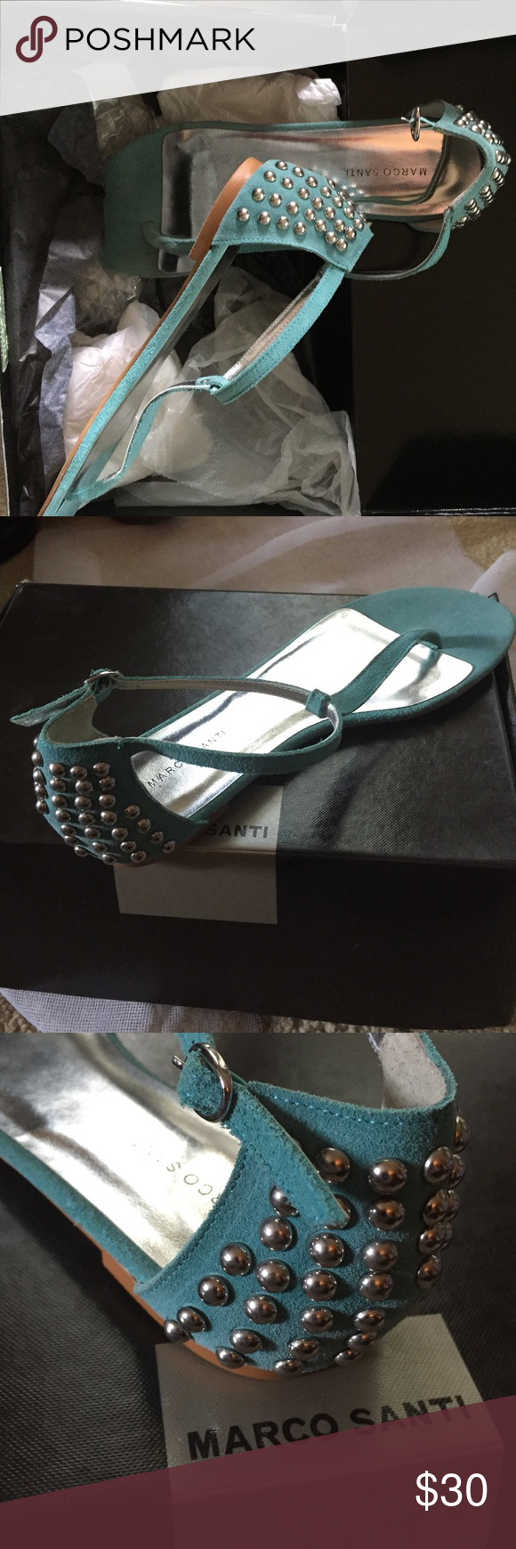 Marco Santi turquoise sandals. New in box super cute sandals. Blue suede. 100% goes to charity. Marco Santi Shoes Sandals