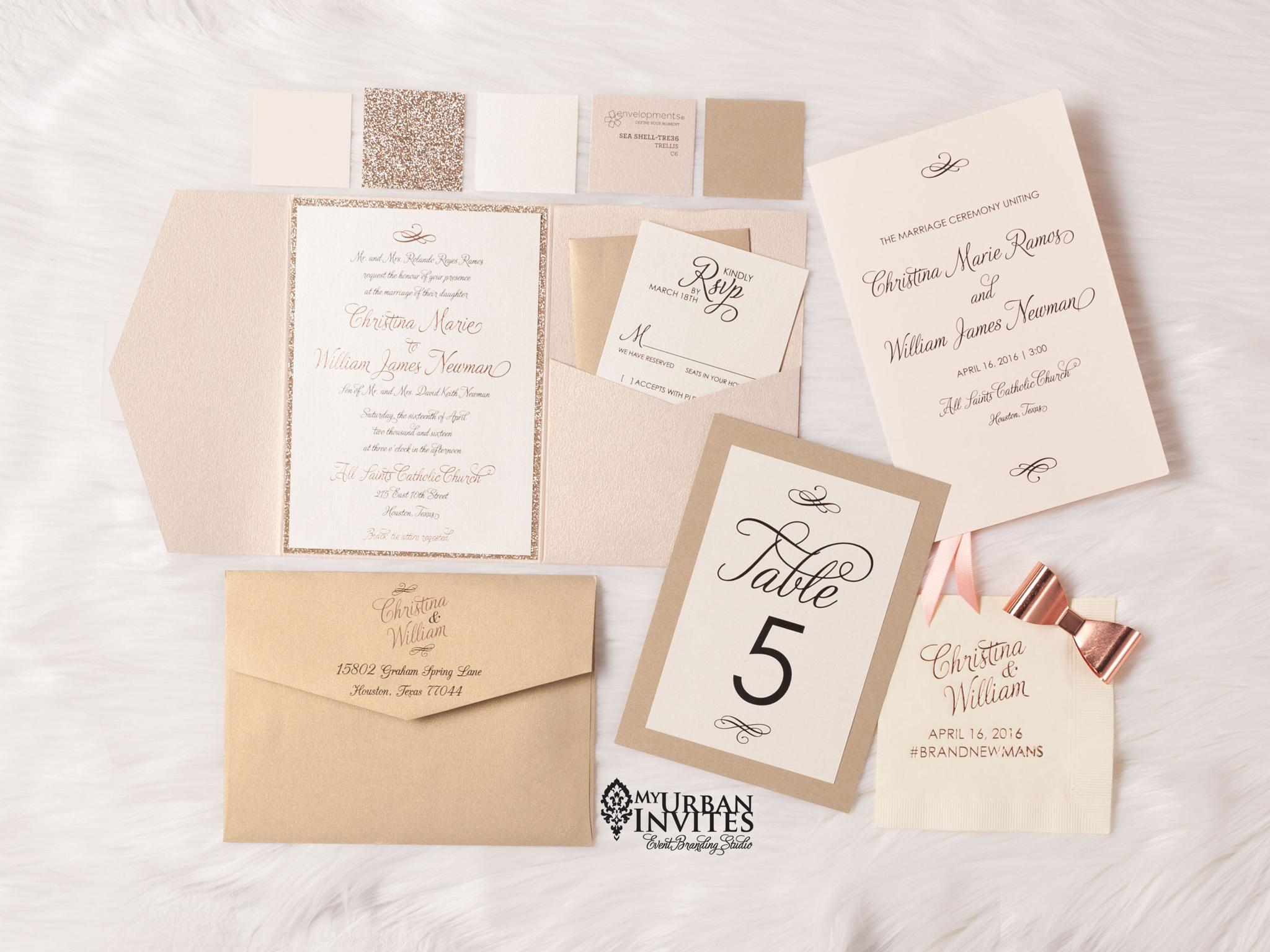 Rose gold, blush, champagne gold classic wedding invitations ...