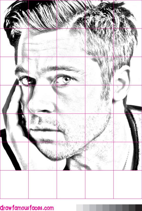 Drawing Lines Using C : How to draw brad pitt using a grid pinterest