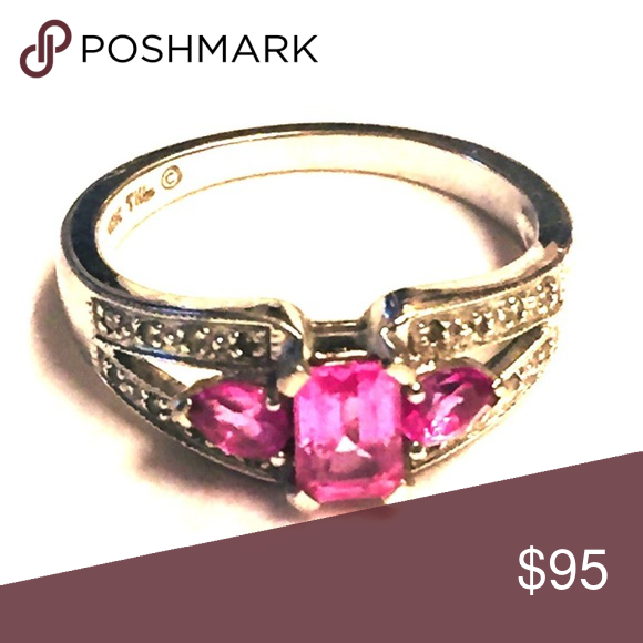 Samuel Aaron 10k White Gold Pink Sapphire Ring Pink Sapphire Ring Pink Sapphire White Gold