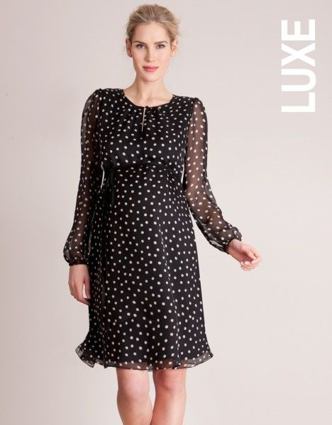 2b271269be8a5 Seraphine Black & White Polka Dot Silk Maternity Dress, chose by Crown  Princess Victoria for her maternity style #pregnant
