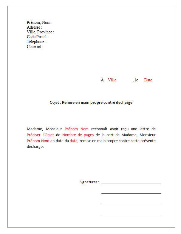 Modèle de lettre Remise en main propre contre décharge - Docutexte en 2020 | Modèles de lettres ...