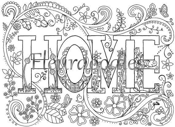 Sweet Home Malseite für Erwachsene Malvorlage von fleurdoodles ...