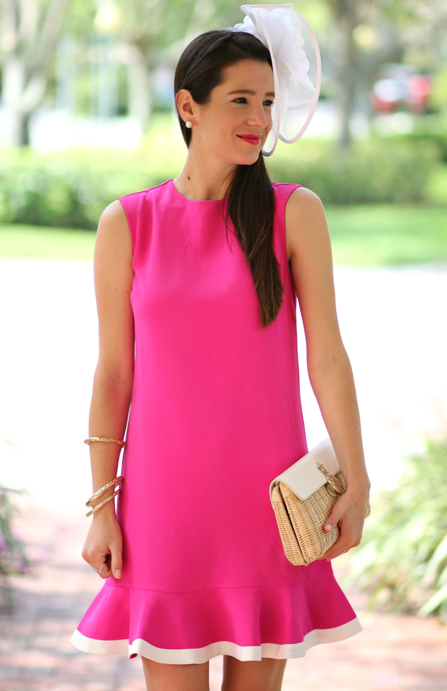 57c681086d59a Absolutely darling fuchsia Kentucky Derby dress by Victoria Beckham for  Target with a classic white fascinator