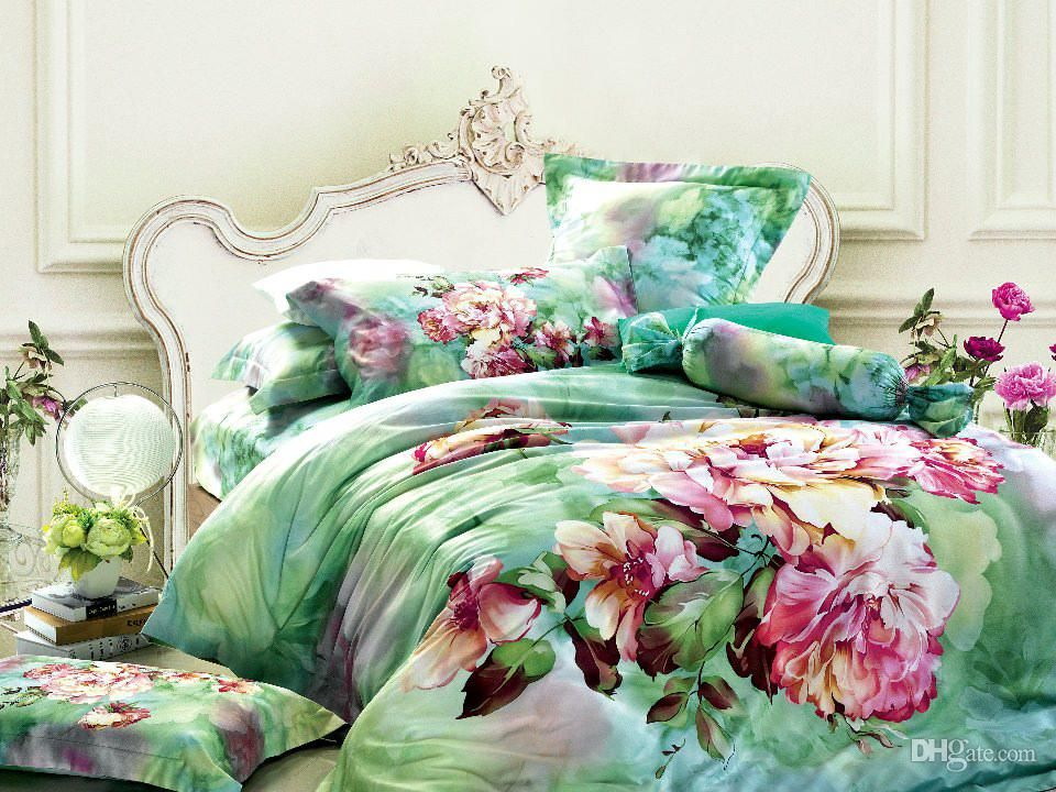 Green Floral Bedding Comforter Set Sets Queen King Size Duvet Cover Bedspread Sheets Bed In A Bag Sheet Quilt Linen 100 Cotton Duvet Comforter Sets Blanket Set King Size Bed Sheets
