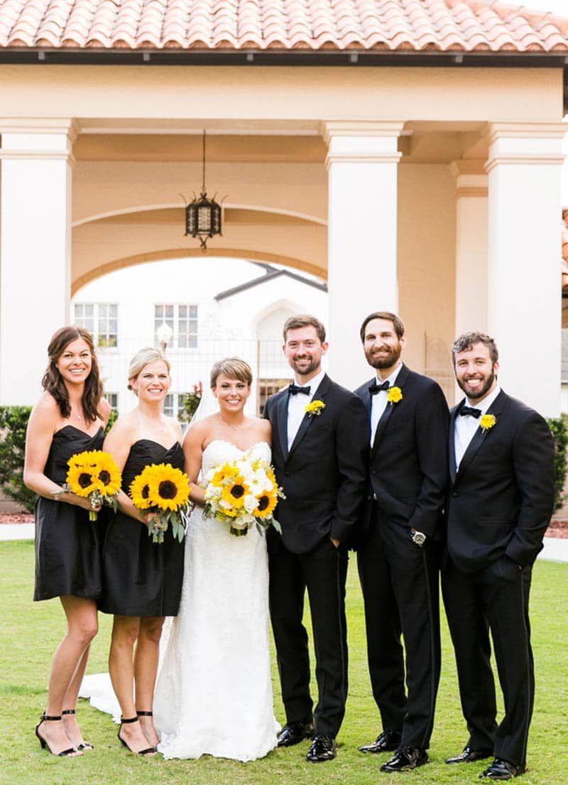 Black And White Sunflower Wedding Orange Blossom Bride Sunflower Wedding White Sunflowers Wedding Photos