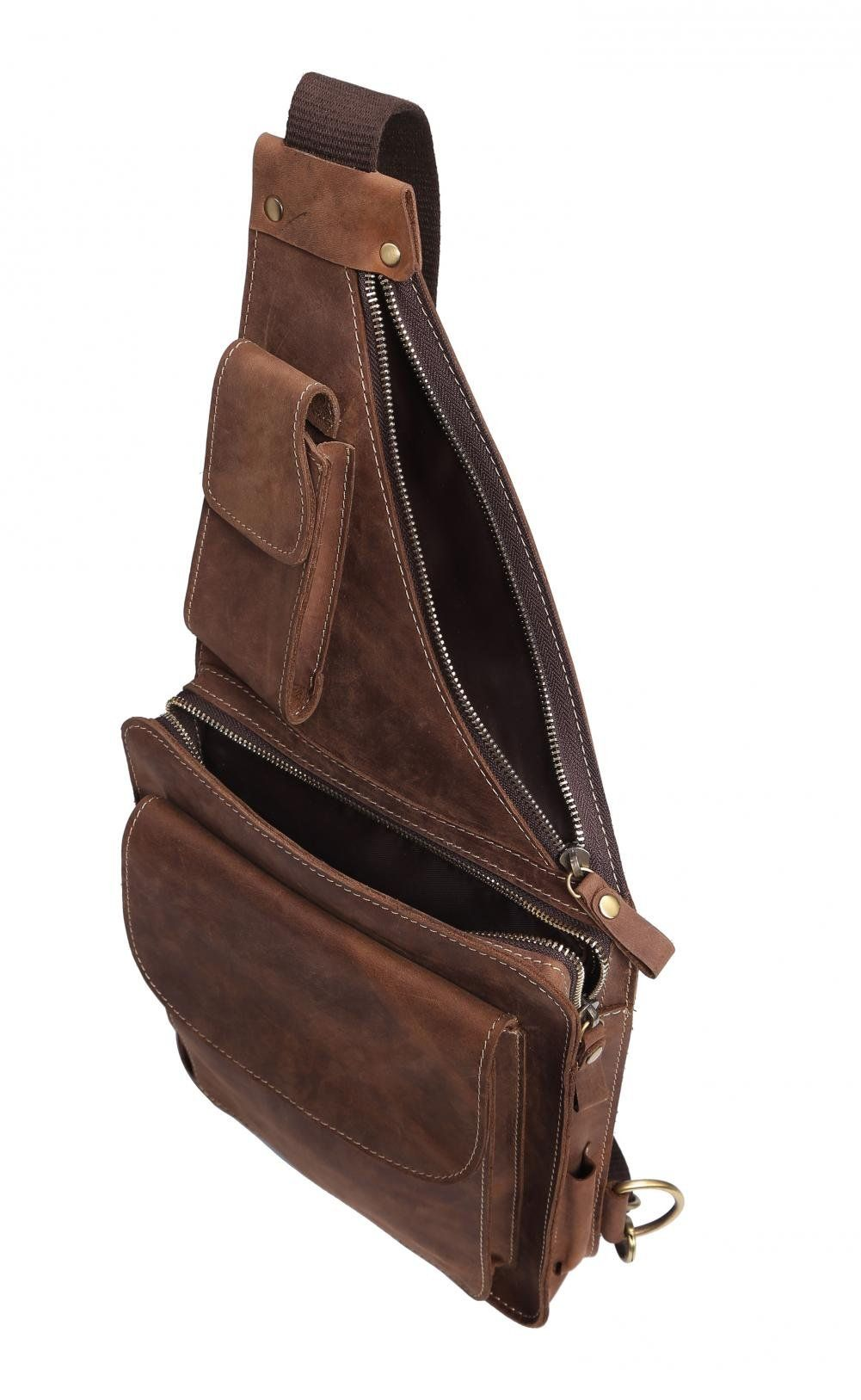 54955761b2a Amazon.com  Mens Genuine Leather Buniess Crossbody Chest Pack Sling Backpack  Shoulder Bag  Clothing