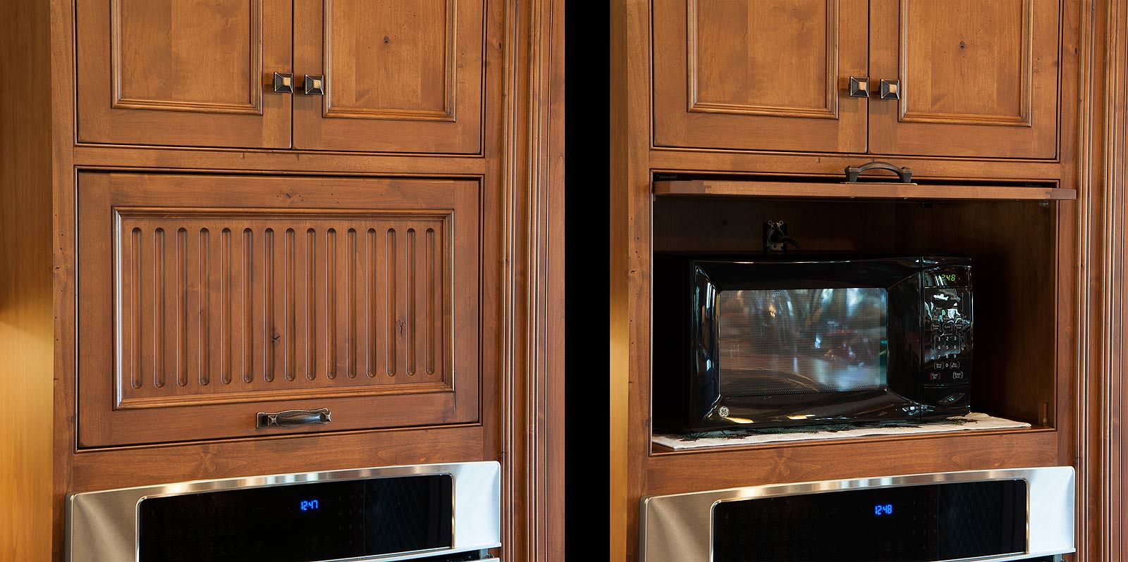 Hide The Microwave Behind A Flip Up Door Like This