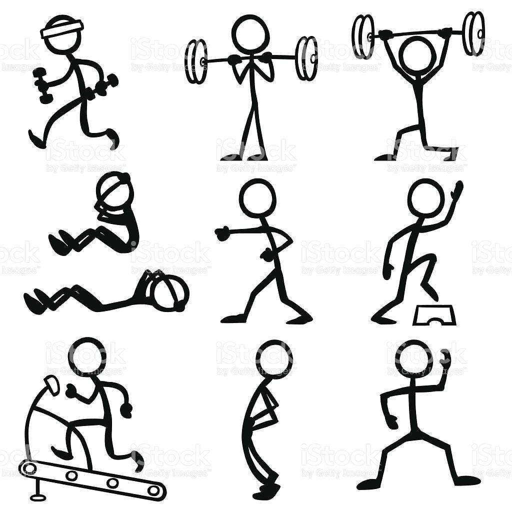 Stickfigure Doing Fitness Related Activities.