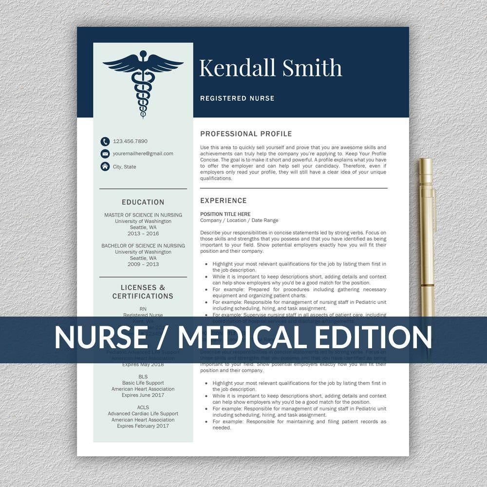 Nurse Resume Template for Word / Medical Resume Nurse CV