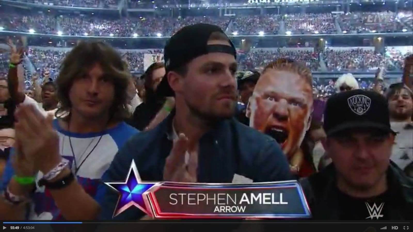 Stephen Amell at Wrestlemania 32