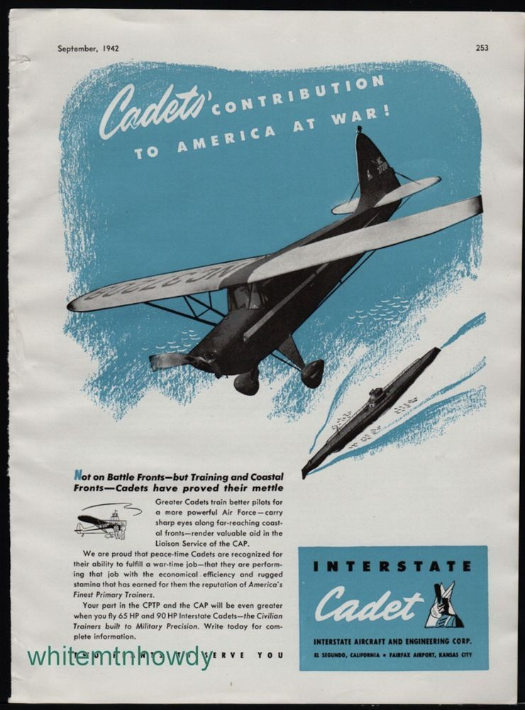 1942 Ww Ii Interstate Cadet Aircraft Training Coastal Front Observation Wwii Ad Aviation Posters Vintage Ads Aircraft
