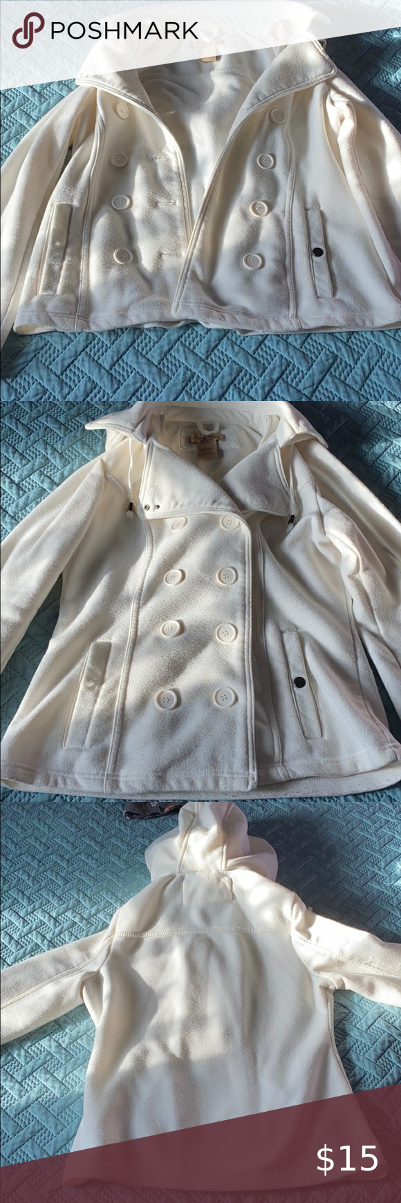 White Button Up Coat White Button Up Coat Size Large But Fits More Like A S M Missing Button Snap On Right Pock White Button Up Jackets For Women Blue Jacket [ 1740 x 580 Pixel ]