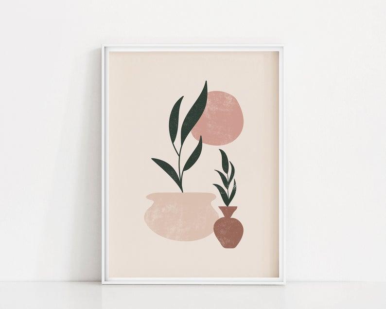 Art Blush Botanical Brush Color Digital Easy Painting Ideas On Canvas Boho Leaves Paint Painting Pink Plant Painting Art Print Gifts Plant Art Print