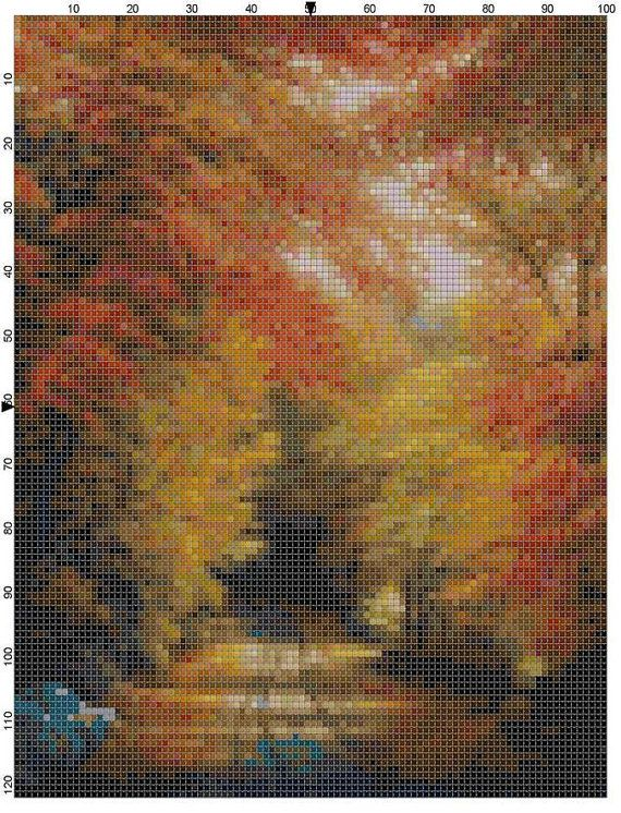 Cross Stitch Pattern New England Autumn PDF by theelegantstitchery